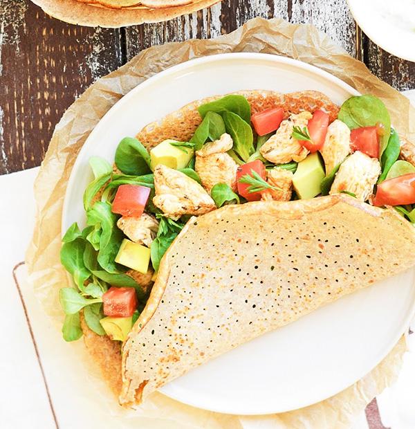 Buckwheat pancakes with chicken, tomato and avocado